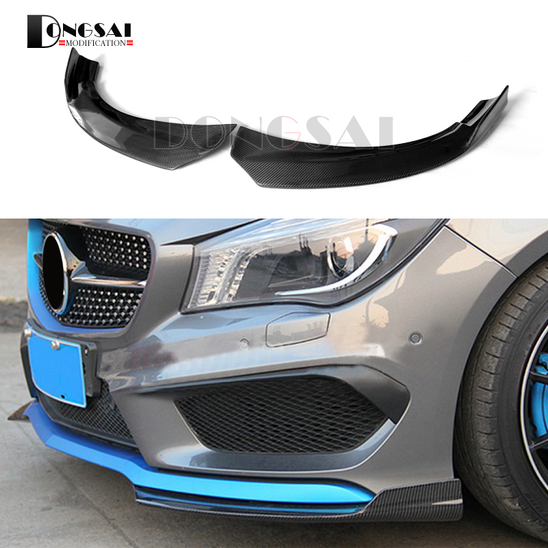 Carbon Fiber Front Bumper Lip Spoiler Splitter Cup Spoiler Flaps for Mercedes-benz CLA W117 C117 CLA250 CLA45 AMG style 2014+ for benz cla c117 w117 inner door window switch button cover 2014 2017 14pcs