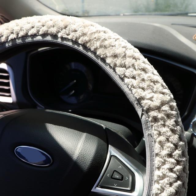 Cubierta Universal del volante del coche cubierta suave de la felpa caliente del Invierno cubre la decoración automática del terciopelo de la Perla del Protector de dirección del coche-estilo