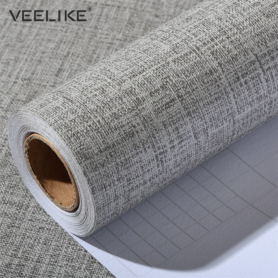 Linen PVC Vinyl Contact Paper For Kitchen Cabinets Home Decor Self Adhesive Wallpaper For Bedroom Decor Living Room Wall Paper