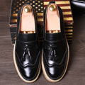 Bullock carved men's summer Vintage thick shoes stylist set foot shoes male tassel round