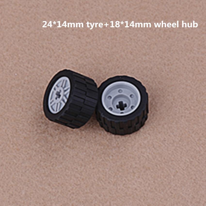 58090 55982 62701 Lego x 4 Black Technic Wheels With Wheel Covers 30.4 x 14