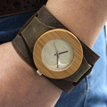 Womens Top Brand Bamboo Wooden  Wristwatch  Chicago Bracelets Genuine Leather Bands Straps With Gift Box Drop Shipping