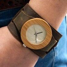 Mujeres Superiores de la Marca de Reloj de pulsera de Madera De Bambú Chicago Bandas Correas Pulseras de Cuero Genuino Con la Caja de Regalo Envío de La Gota