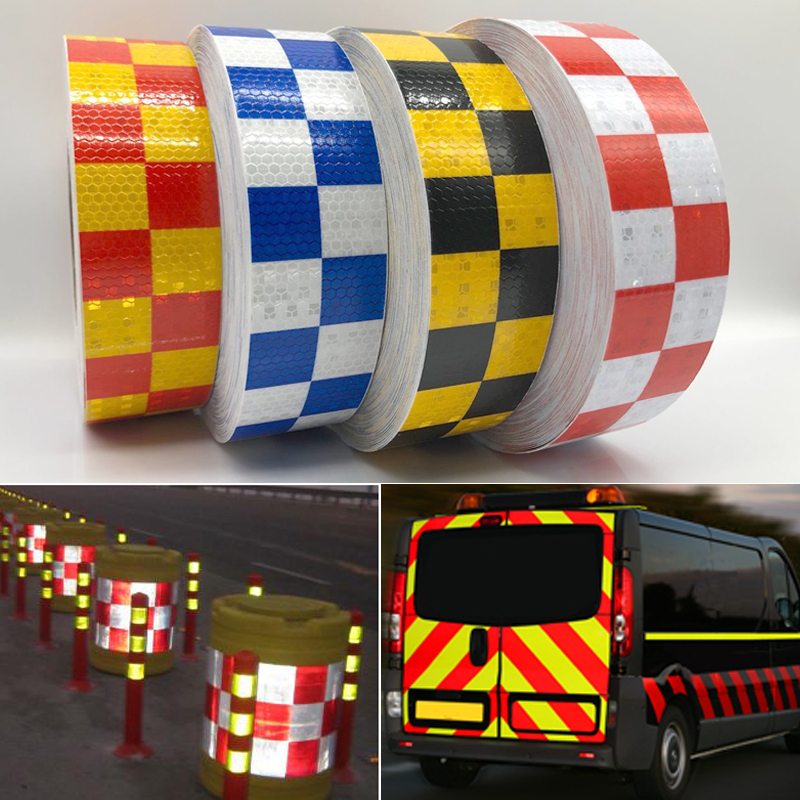 Купить с кэшбэком 5cmx5m Safety Mark Reflective tape stickers car-styling Self Adhesive Warning Tape Automobiles Motorcycle Reflective Film
