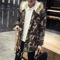 Moda camouflage espessamento jaqueta de inverno dos homens de alta qualidade de lã quente parka com capuz de pele dos homens de roupas tamanho m-5xl MDY2