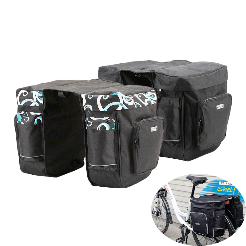 30L Outdoor Cycling Bicycle Carrier Bag Rear Rack Trunk Bike Luggage Saddle Storage Bag Back Seat Pannier Two Double Bags tourbon retro waterproof canvas bicycle back seat pannier cycling rear rack trunk bike luggage two storage bags 23l