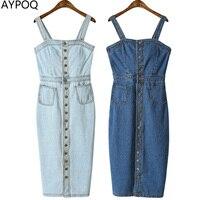 AYPOQ Sexy Casual Denim Dress Sleeveless Spaghetti Strap Buttons Bodycon Tunic Jeans Sundress With Pocket Overalls Midi Dresses