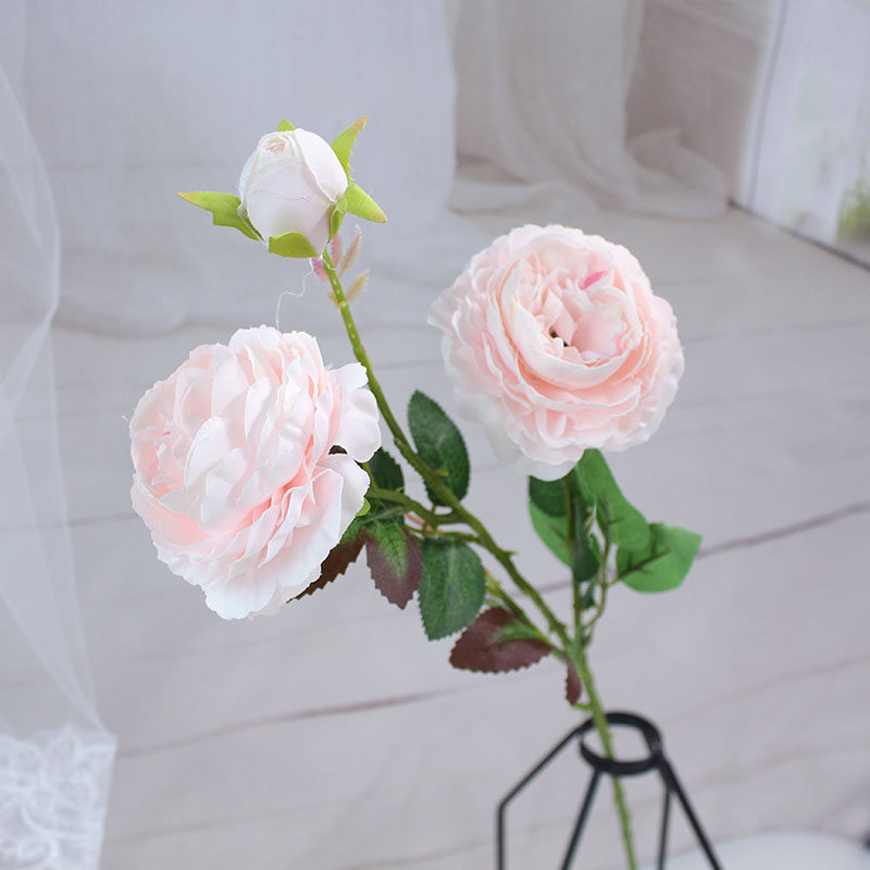 white peony artificial roses fake flowers (4)