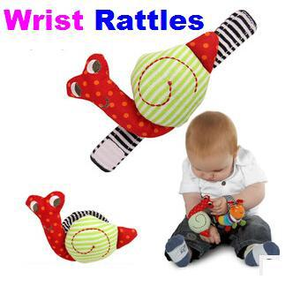 Free shipping 1pcs Red snail wrist rattles,Baby toys Animal Models