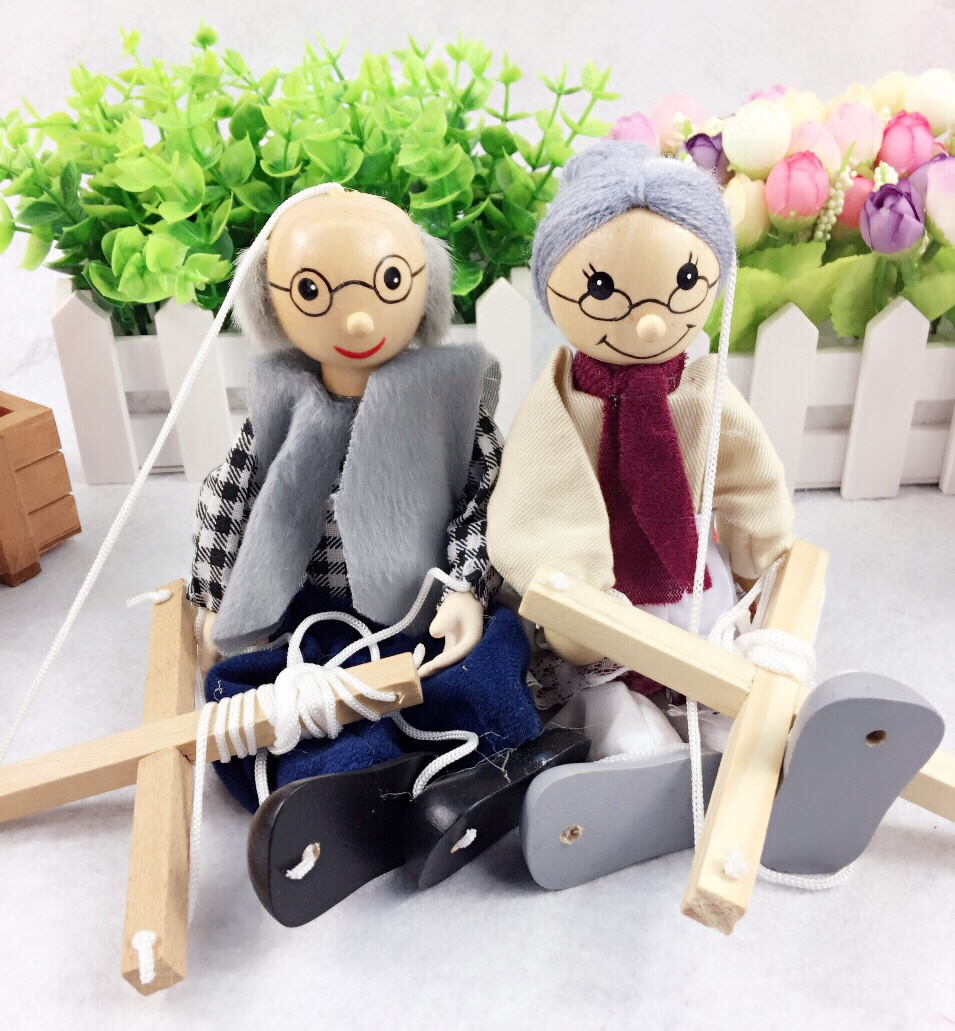 New Funny Toy Pull String Puppet Grandparents Wooden Marionette Puppet Toy Joint Activity Doll