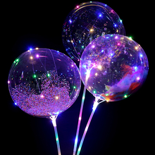 10pcs 20Inch helium Led Balloon Transparent Luminous Foam feather confetti balloon globos Wedding birthday party decorations