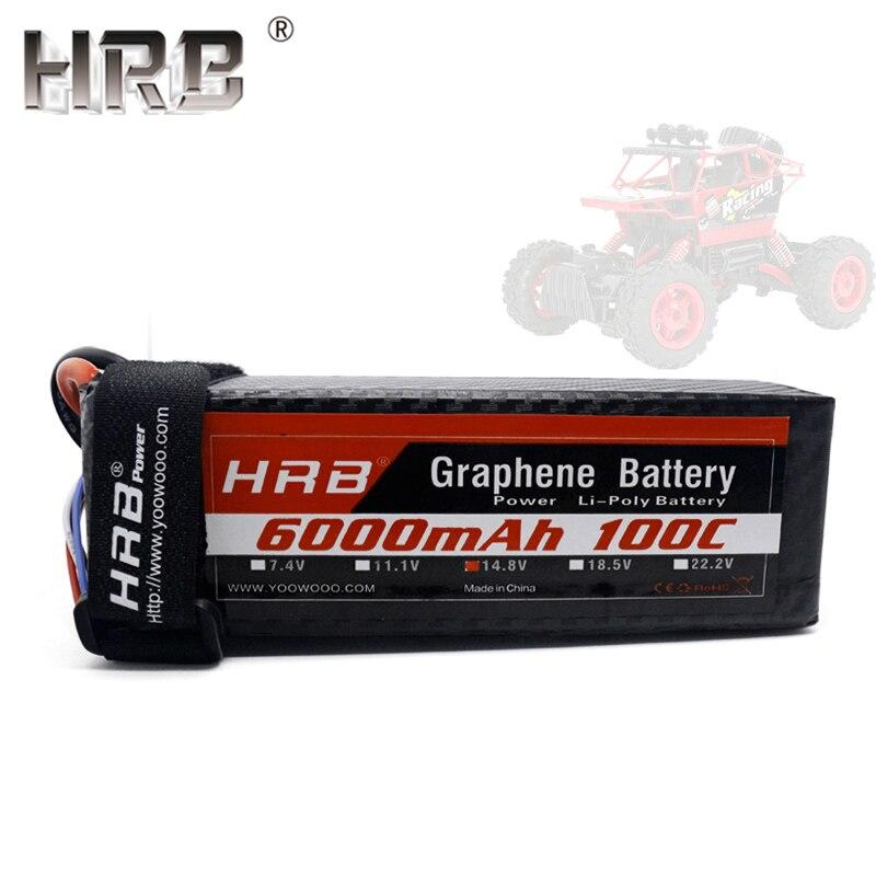 Hrb graphene lipo 배터리 14.8 v 6000mah 100c 4 s trx xt90 ec5 deans t xt60 traxxas 버기 자동차 오프로드 트럭 충전 rc 부품-에서부품 & 액세서리부터 완구 & 취미 의  그룹 1