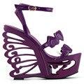 LF51804 Черный/Фиолетовый Сердце Невесты Свадебное ЕВА Клин Бабочка Сандалии Пятки