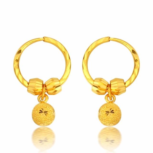 Pure 999 24 K oro Amarillo Arenisca Beads Hoop Pendientes 4.11g