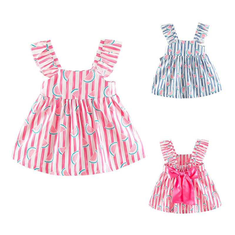 2018 Printed Dress Baby Girl Clothes Summer Print Baby Girl Dress Cotton Cartoon Fruit Pattern Dress For Girl Baby Clothes