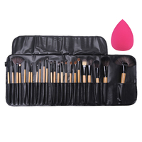 Pro 24Pcs Makeup Brushes Concealer Contour Eyeshadow Foundation Powder Brushes Set With Case Big Sponge Puff
