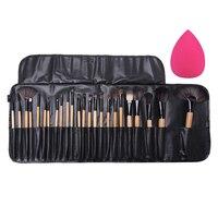 24Pcs Professional Make up Brushes Eyeshadow Eyelash Powder Makeup Brushes Brocha Maquillaje with Bag + Cosmetic Sponge Puff