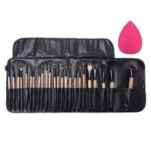 24Pcs Professional Makeup Brushes Eyeshadow Eyeliner Cream Make up Brushes Brocha Maquillaje with Bag Sponge Puff