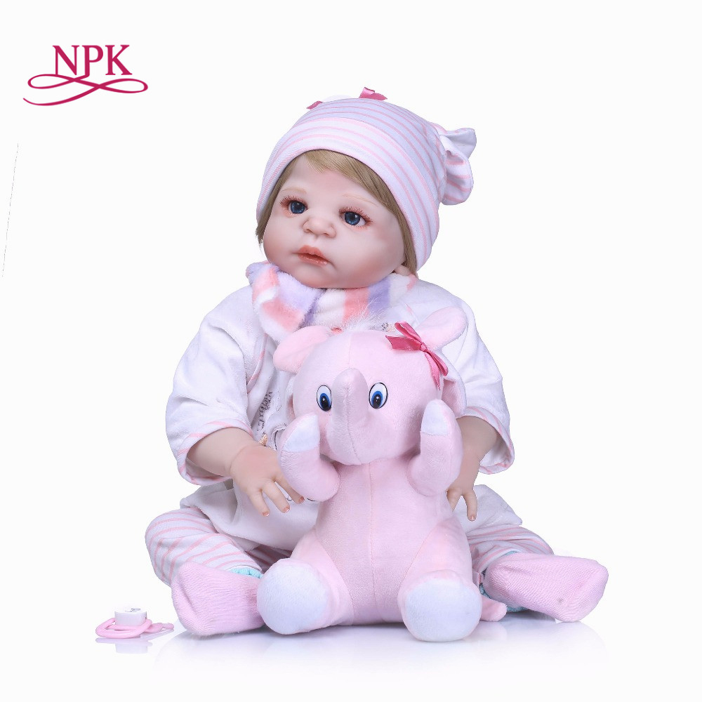 NPK 55cm New Arrival full Silicone Vinyl Adorable Lifelike Toddler Baby Bonecas Girl Kid Baby Doll Reborn Menina Adora Toys цены