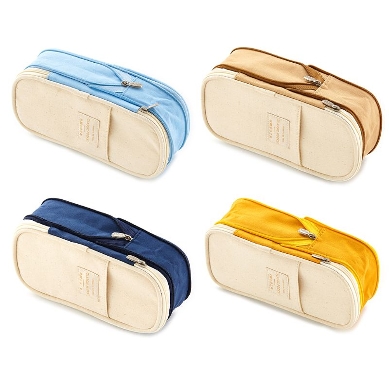 Korea Pencil Case Macaron Color Canvas Stretch Double Layer Large Capacity Pencil Box Pencilcase Kids School Stationery
