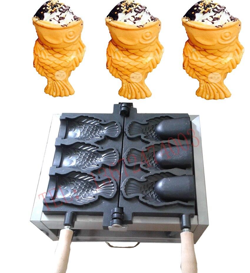 Livraison gratuite 110 v 220 v Bouche Ouverte glace crème taiyaki machine gros poissons cône fabricant acheter machine viennent avec outils