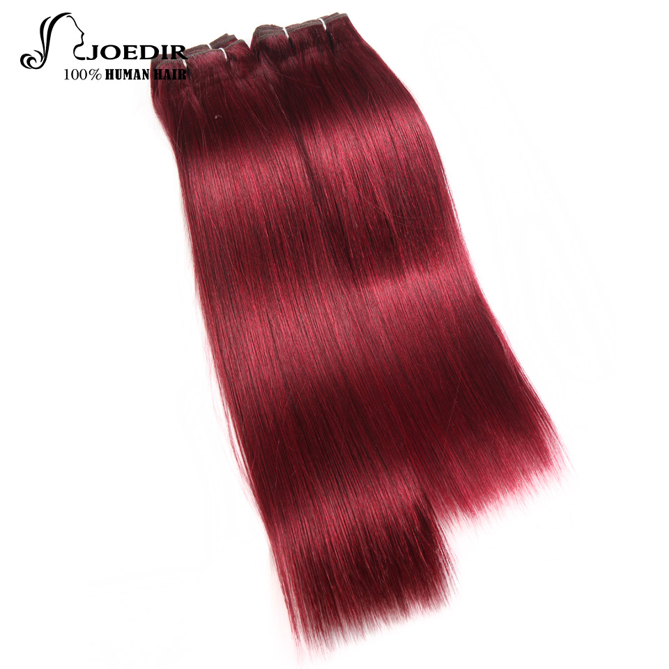 Joedir Indian Human Hair 4 Bundles Light Yaki Straight Human Hair 190G 1 Pack 2# 4# 99j# Burgundy Bundles Non Remy