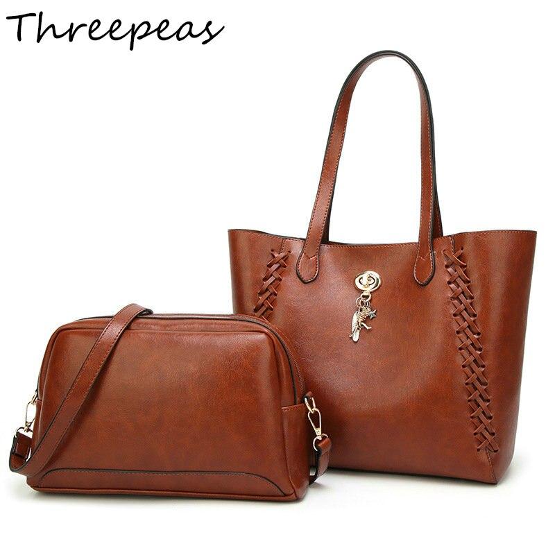 THREEPEAS 2pcs Set Oil Wax PU Leather Women Handbags High Quality Casual Female Bag Tote Crossbody Bag Vintage Shoulder Bag Sets