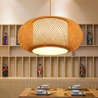 Новый китайский Ресторан подвесные светильники бамбука Bird Cage тени японской Личность Творческая ретро Чай комнаты подвесной светильник led