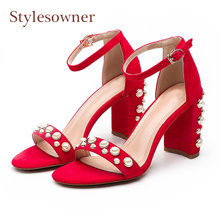 Stylesowner 2018 summer new high heel sandals pearl chunky heel open toe gladiator sandals ankle buckle strap shoes women pumps luxurious ankle strap chunky heel high