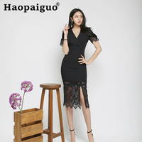 Lace Patchwork Corset Black Split Evening Party Dress Women V neck Short Sleeve Midi White Dresses Ladies Split Korean Dress