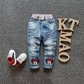 Envío de EMS / DHLFree 2016 nuevas adquisiciones niños niños primavera verano otoño rojo venta al por mayor de la historieta de Minne Bowknot Jeans