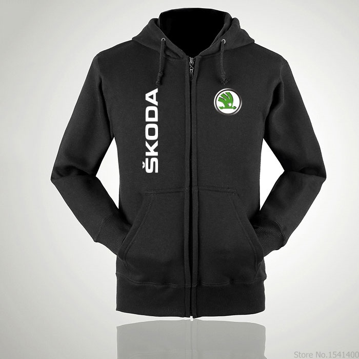 Fashion winter autumn Zipper Casual Hoody Skoda Sweatshirt Long Sleeve Jacket Coat for male Female tops
