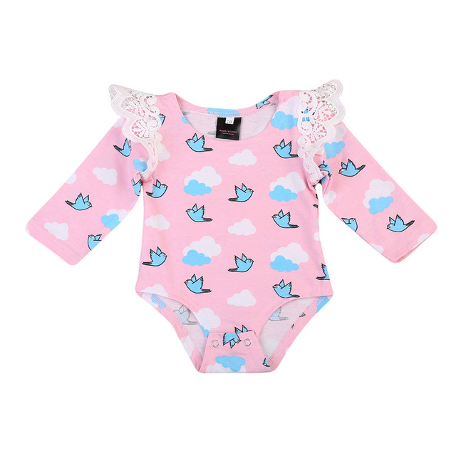 e6a2e7542ac3 Cotton Cute Pink blue Rompers Infant Baby Girl Clothes Lace Ruffles bird  print Baby Girl Romper Sunsuit Outfits girl clothing