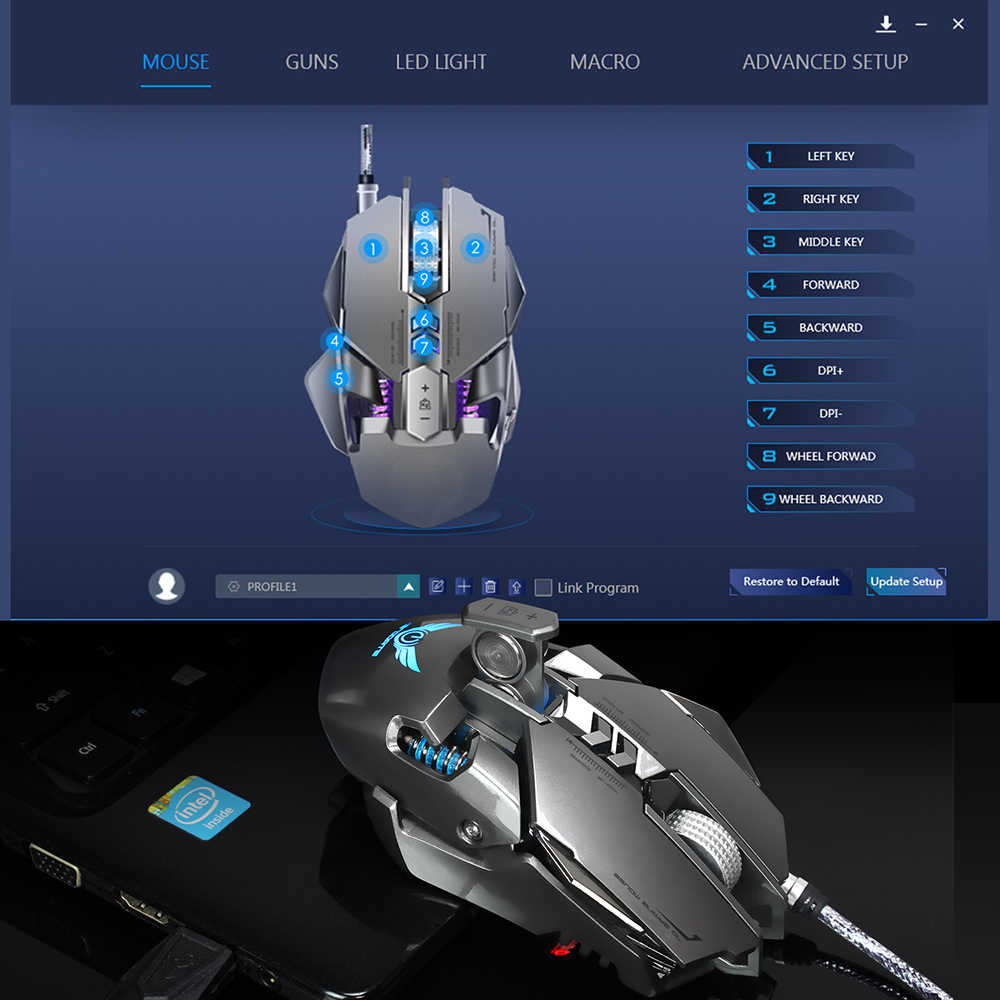 ZERODATE X300GY USB Wired Gaming Mouse Mechanical Computer PC Mouse Mice  3200DPI 7 Buttons LED Backlight for LOL DOTA2 Computer