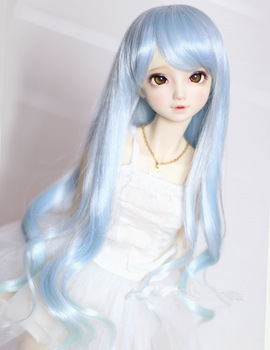 Doll wigs wave curly hair blue pink color High temperature wire available for 1/3 1/4 BJD SD DD doll wigs недорого