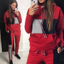 2019 Plaid Suede Tracksuit Women Costume Two Piece Set Hoodies Top+ Pant Suits Tracksuits Sets For Women Jogging Sporting Suit