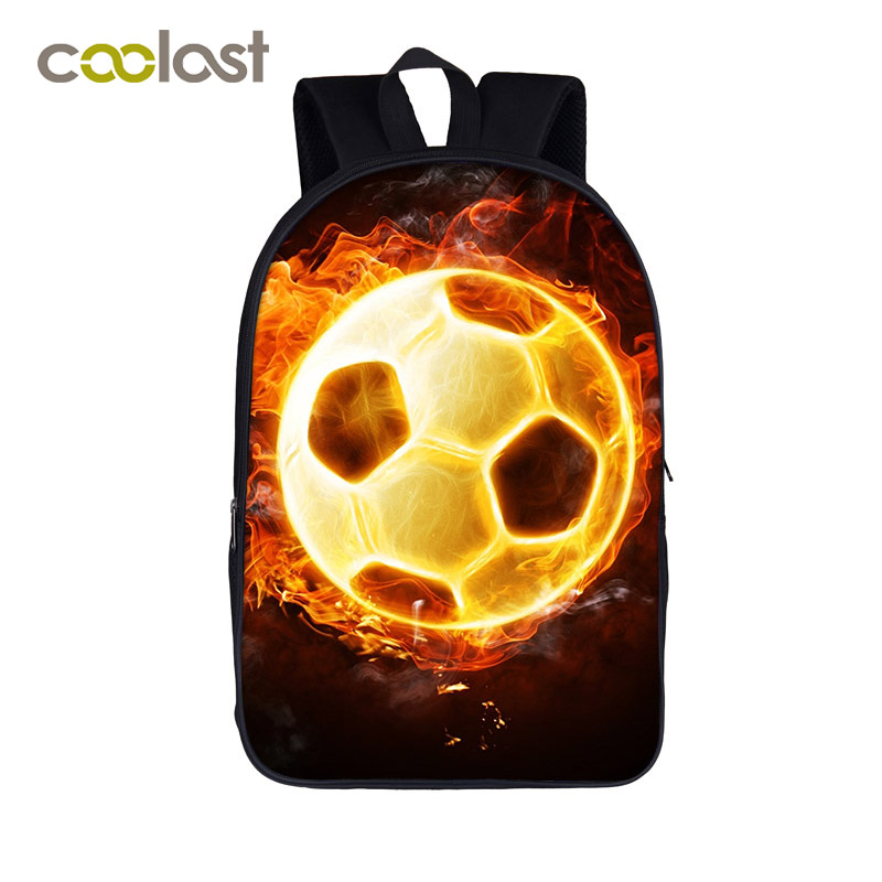 Cool Glowing Foot Ball Students Backpack For Teenage Boy Children School Bag Fire Foot Ball Book Backpack For Teenager And Adult