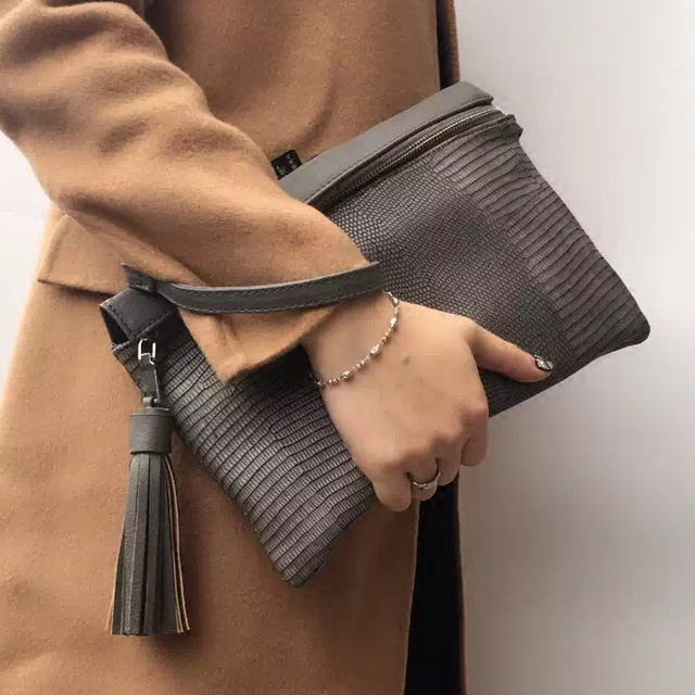 Crocodile women tassel clutch bag high quality PU leather Envelope evening bags Shoulder bag for Women's Crossbody Bags Clutches
