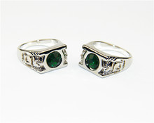 ZRM Fashion Silver Chrm Green Lantern Ring Super Hero Movie Jewelry Men Women Gifts Size 7-14(China)