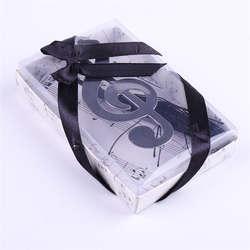 Полые музыкальные ноты закладки металла с мини открытки Ленточки кулон подарки Нержавеющаясталь свадебной коробку