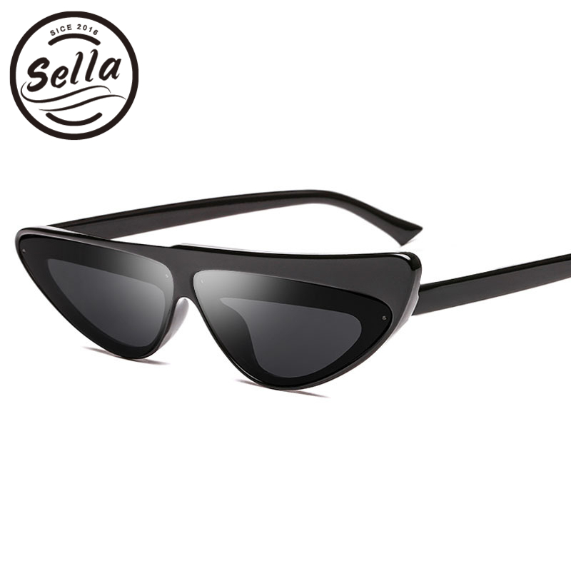 Sella 2018 New Unique Fashion Women Cateye Sunglasses Popular Colorful Tint Lens Narrow Small Frame Eyewear Glasses