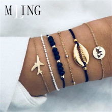 MLING 6 Pcs/Set Vintage Shell Plane World Map For Women Gold Color Bracelets & Bangles Boho Fashion Jewelry