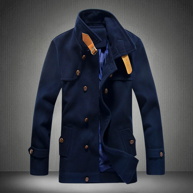 Good Quality Plus size M-5XL 2016 Warm New Fashion Men Wool Blends overcoat Design  Male Casual Long Coat  manteau homme