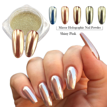 0.5g Fashion Champagne Silver Mirror Nail Glitter Powder Dazzling Pink Beauty Holographic Pigment