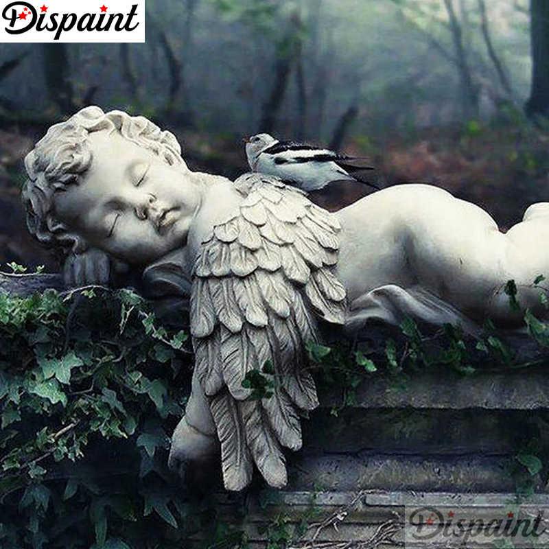 "Dispaint Tam Kare/Yuvarlak Matkap 5D DIY Elmas Boyama ""Melek taş heykel"" Nakış Çapraz Dikiş 5D Ev Orkide küçük A27096"