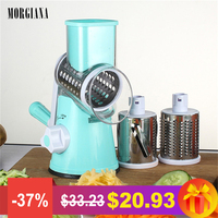 MORGIANA Multi function Round Manual Vegetable Graters Slicers Shredder Stainless Steel Blades Carrots Cutter Kitchen Tool