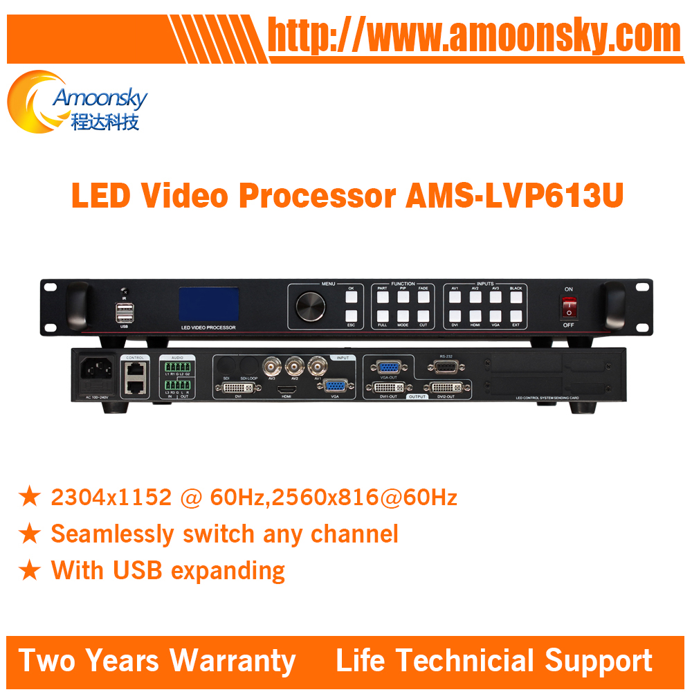 Two years warranty AMS-LVP613U usb video processor led display controller support audio input and output best price