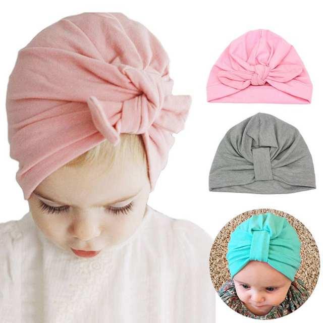 Online Shop Newborn Baby Hat Baby Girls Boys Rabbit Ears Bowknot Solid Cap  Turban Headwear Infant Girls Soft Baby Girl Hats bonnet  82fa60b2d73f