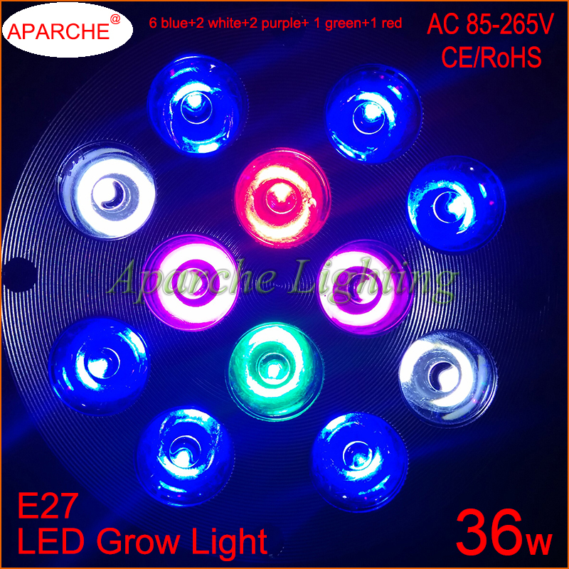 CREE LED Chips Full Spectrum Led Aquarium Grow Lights E27 36W 5 Colors Mixed Flowering Plant Hydroponics Greenhouse - RGA Official Store store