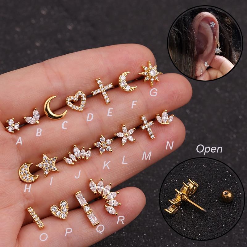 1Pc Zircon Stone Ear Piercing Tragus Ring 1.2*6mm 16G Earrings™